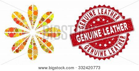 Mosaic Flower And Grunge Stamp Seal With Genuine Leather Text. Mosaic Vector Is Created From Flower