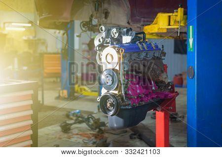 Old Engine After Overhaul In Car Workshop