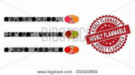 Mosaic Matches And Rubber Stamp Seal With Highly Flammable Caption. Mosaic Vector Is Designed From M