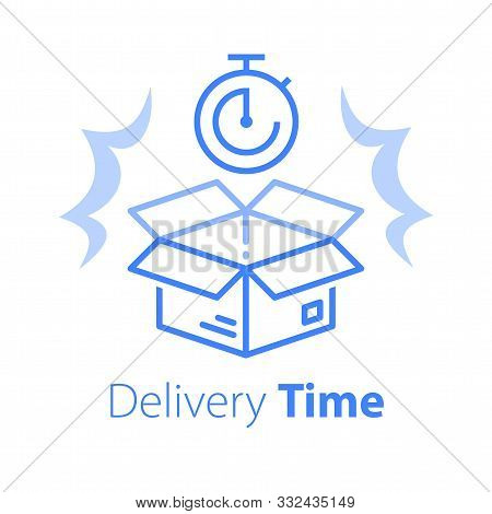 Delivery Time, Linear Design, Fast Shipment, Stopwatch And Open Box, Postal Parcel Waiting Period, T