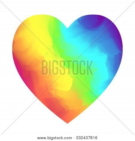 Bright Rainbow Colors Gradient Heart Shape Isolated On White Background. Vibrant Vector Watercolor H