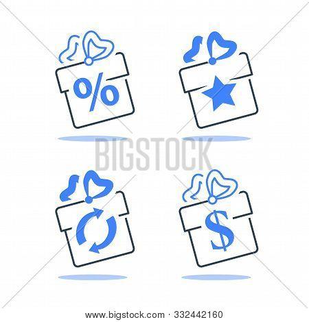 Gift Box, Loyalty Program, Earn Points, Win Present, Redeem Bonus, Giveaway Concept, Vector Line Ico