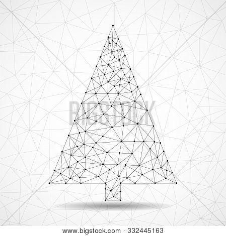 Abstract Geometric Christmas Tree Of Lines And Dots