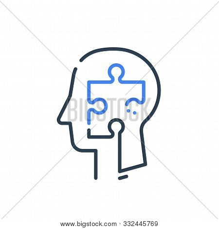 Human Head Profile And Jigsaw Puzzle, Cognitive Psychology Or Psychiatry Therapy Concept, Mental Hea