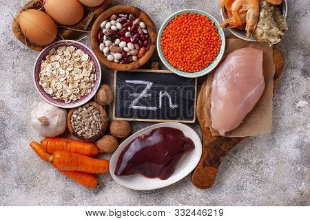 Healthy Product Sources Of Zinc. Food Rich In Zn