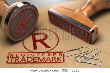 3d Illustration Of Two Rubber Stamps With The Text Registered Trademark And The Symbol R Over Brown