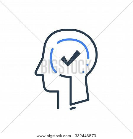 Human Head Profile And Check Mark Line Icon, Cognitive Psychology Or Psychiatry Concept, Decision Ma