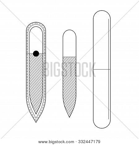 Set Glass Nail File, Nail File In The Package And Buff. Thin Lines. Vector. Isolated. Black On A Whi