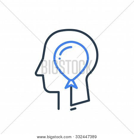 Human Head Profile And Balloon Line Icon, Cognitive Psychology Or Psychiatry Concept, Self Esteem Or