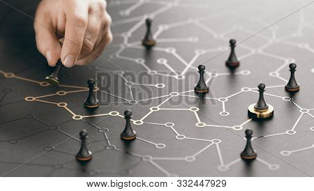 Hand Moving Pawn On A Conceptual Maze. Shortcut To Success Or Career Guidance Concept. Composite Ima