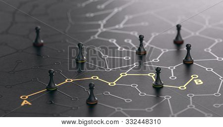 3d Illustration Of A Conceptual Maze. Shortcut Between Points A And B Or Finding The Shortest Path C