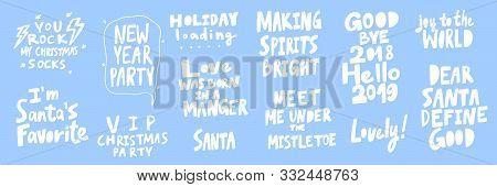 Party, Santa, Love, Dear, Good, Hello, Joy, World, Holiday, Rock, Socks. Merry Christmas And Happy N