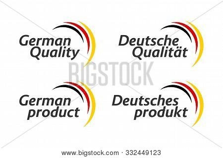 Set Of Four German Icons, German Quality And German Product In English And German, Premium Quality S
