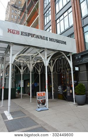 NEW YORK, NY - 05 NOV 2019: The KGB Espionage Museum, on 14th Street, presents the largest collection of items covering the activities of KGB agents.