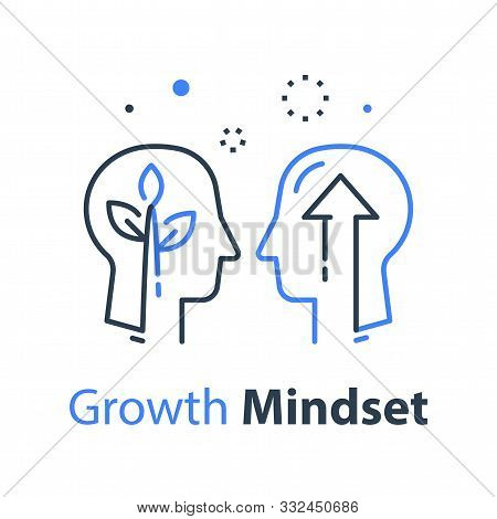 Two Human Head Profiles, Arrow Up And Plant Stem, Next Level Self Improvement, Leader Training And M