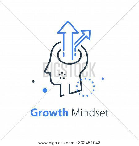 Human Head And Arrow, Next Level Improvement, Growth Mindset, Leadership Training And Mentoring, Pur