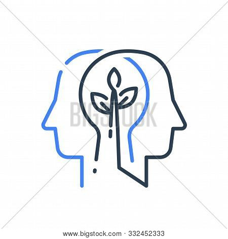 Human Head Profile And Plant Stem, Cognitive Psychology Or Psychiatry Concept, Mental Health, Brain
