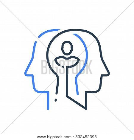Human Head Profile Line Icon, Cognitive Psychology Or Psychotherapy Concept, Self Esteem Or Confiden