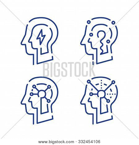 Human Head Profile And Neurons Connection Net, Cognitive Psychology Or Psychotherapy, Neurology Conc