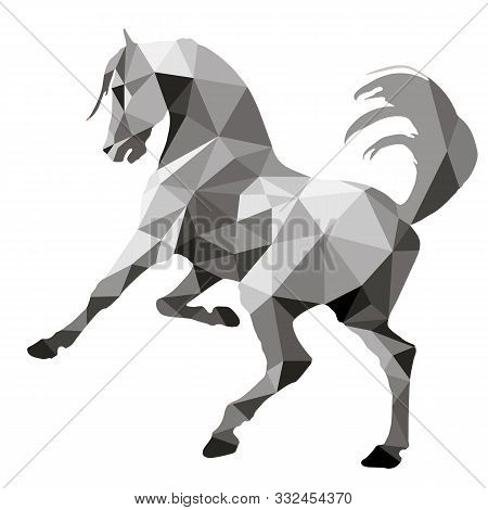 Monochrome, Silver Color, Prancing Horse, Vector-isolated Image On A White Background In The Style O
