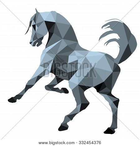 Monochrome, Silver Color, Prancing Horse, Isolated Image On A White Background In The Style Of
