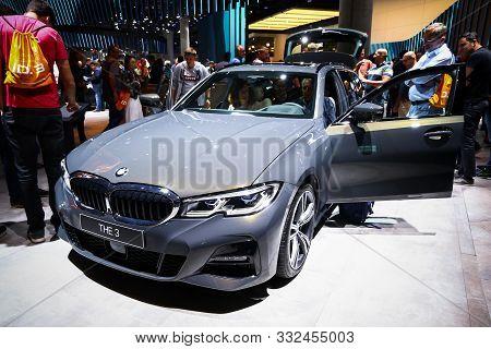 Frankfurt Am Main, Germany - September 17, 2019: Grey Motor Car Bmw 3-series (g20) At The Frankfurt