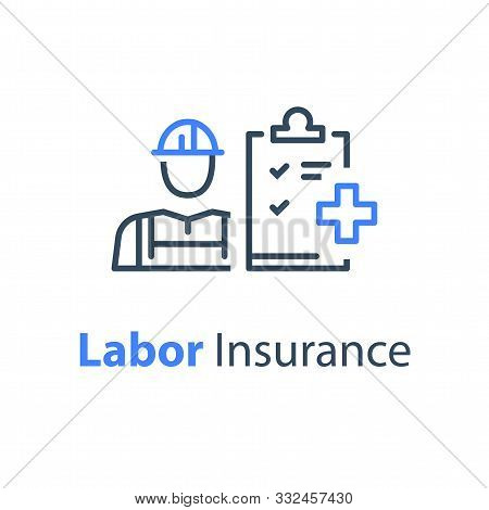 Worker And Check List, Medical Insurance, Labor Safety, Health Protection, Injury Coverage, Vector L