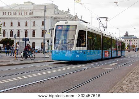 Gothenburg, Sweden - September 2, 2019: Blue Modern Bi-articulated Tram Of Class M32 At Avenyn.