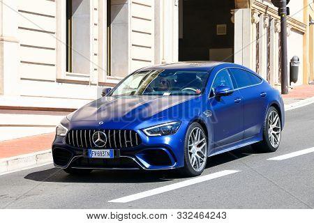 Monte-carlo, Monaco - September 12, 2019: Luxury Car Mercedes-benz-amg Gt 4-door Coupe (x290) In The