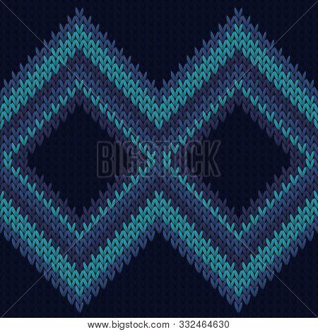 Chunky Rhombus Argyle Knit Texture Geometric Seamless Pattern. Scarf Knit Tricot  Fabric Print. Wint