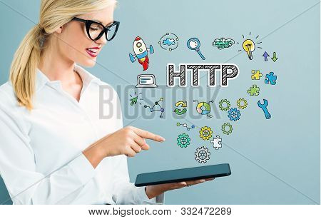 Http Text With Business Woman Using A Tablet