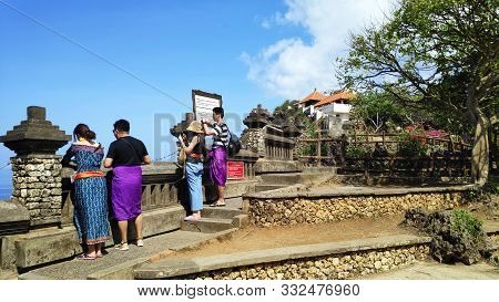 Bali, Indonesia- 18 Oct, 2019: Cliff At Uluwatu Temple Or Pura Luhur Uluwatu. One Of Tourist Attract