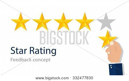 Quality star rating. Feedback rank concept. Customer appraisal, performance rate, positive review. Good evaluation of service in flat style. Best appreciation of quality. Isolated vector illustration poster