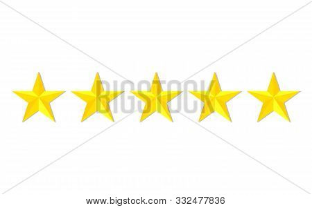 Quality Stars Rating. Customer Review With Gold Star Icon. 5 Stars Assessment Of Customer In Flat St
