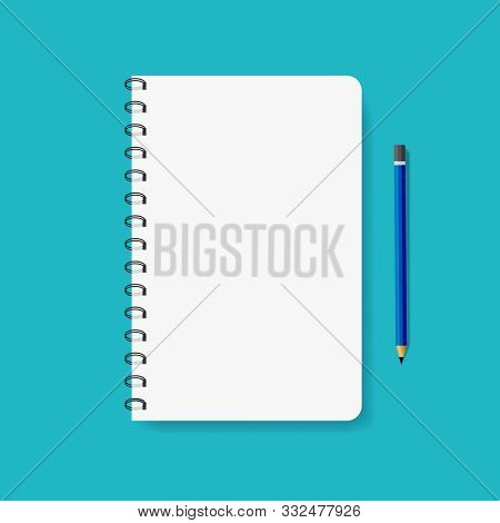 Template Of Spiral Paper Notebook For Note. Mockup Notepad With Metal Binder And Pencil. Flat Empty