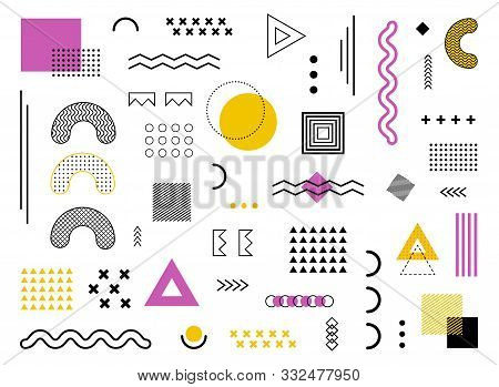 Memphis Design Geometric Background With Abstract Element Shapes. Graphic Funky Texture For Holiday