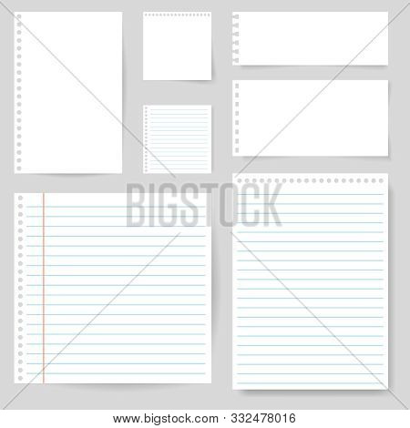 Set Of Paper Blank With Line For Note, Mail, Shcool. Torn Sheet Of Paper Page. Square And Lined Pape