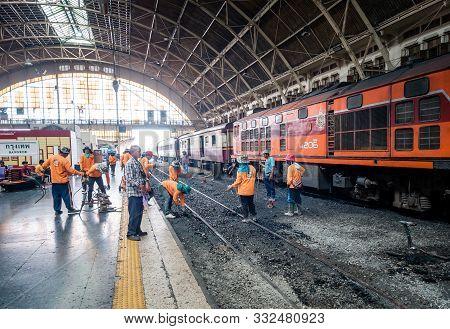Bangkok, Thailand - May 25, 2019: Repair Works On The Hua Lamphong Railway Station. Laying Of New Ra