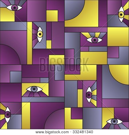 Colorful pattern with eyes in geometric shapes grid mondrian avant garde fashion textile print. Decorative modules illustration. Open eyes bauhaus geometric seamless pattern. Gradient vector design. t-shirt