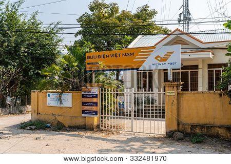 Nha Trang, Vietnam - March 11, 2019: National Postal Service Office Building Behind Gate At Nga Ba T