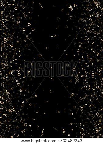 poster of Gold geometric confetti vector memphis style background with triangle, circle, square shapes, chevron and wavy line ribbons. Modern 90s style bauhaus gold yellow tinsel party confetti on black.