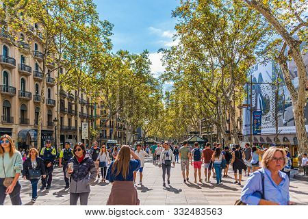 Barcelona, Spain - September 19 2017: Barcelona Is The Capital And Largest City Of Catalonia, Spain.