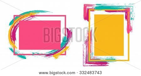 Geometric Frames With Paint Brush Strokes Vector Set. Box Borders With Painted Brushstrokes Backgrou