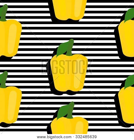 Seamless Background With Stripes And Yellow Pappers With Dark Shadow. Vector Illustration Design For
