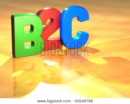 Word B2C on yellow background (higj resolution 3D image) poster
