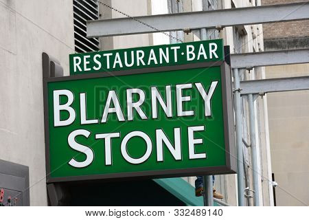 NEW YORK, NY - 05 NOV 2019: Sign at the Blarney Stone Restaurant and Bar in Lower Manhattan, an Irish watering hole.