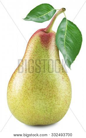 Ripe pear with a pears leaves on white background. File contains clipping path.