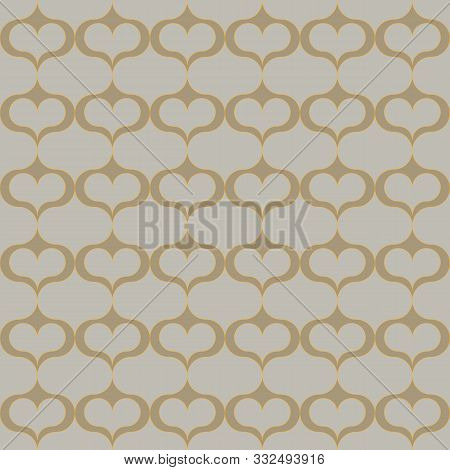 A Seamless Vector Abstract Trellis Pattern With Hearts In Natural Stone Colors. Classic Surface Prin