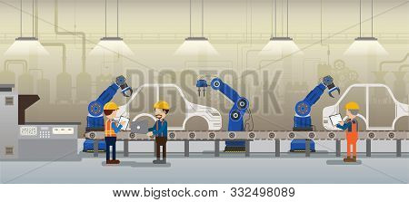 Automation Automobile Factory Concept With Robot Assembly Line In Car Factory Vector Illustration