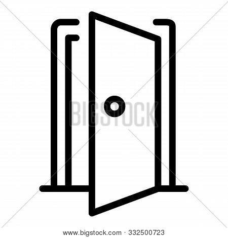 Open Door Of The House Icon. Outline Open Door Of The House Vector Icon For Web Design Isolated On W